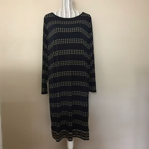 Michael Kors Navy Blue/Brown print sleeves dress
